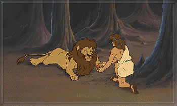 Androcles meets the lions in the woods
